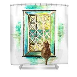 Curiosity - Cat Shower Curtain