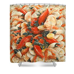 Seafood Extravaganza Shower Curtain by Lincoln Seligman