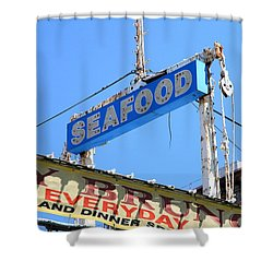 Seafood Sign Shower Curtain by Valentino Visentini