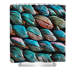Seagrass Blue Shower Curtain by Linda Bianic