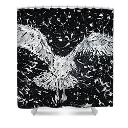 Seagull - Oil Portrait Shower Curtain by Fabrizio Cassetta