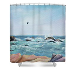 Seagull Over The Ocean Shower Curtain by Asha Carolyn Young