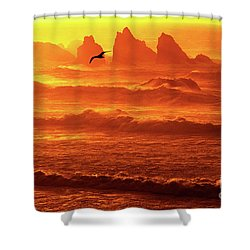Shower Curtain featuring the photograph Seagull Soaring Over The Surf At Sunset Oregon Coast by Dave Welling