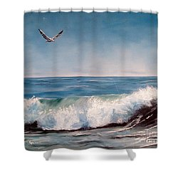 Seagull With Wave  Shower Curtain by Lee Piper