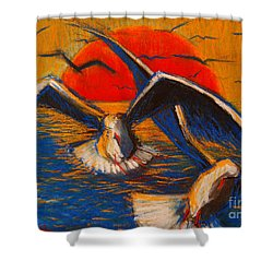 Seagulls At Sunset Shower Curtain by Mona Edulesco
