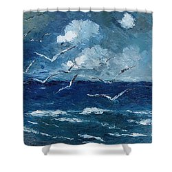 Seagulls Over Adriatic Sea Shower Curtain by AmaS Art
