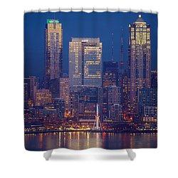 Seahawks 12th Man Seattle Skyline At Dusk Shower Curtain by Mike Reid