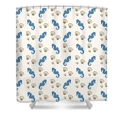 Seahorse And Shells Pattern Shower Curtain by Christina Rollo