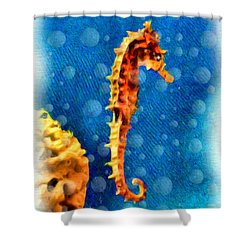 Shower Curtain featuring the digital art Seahorse by Daniel Janda