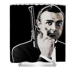 Sean Connery James Bond Square Shower Curtain by Tony Rubino