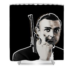 Sean Connery James Bond Vertical Shower Curtain by Tony Rubino