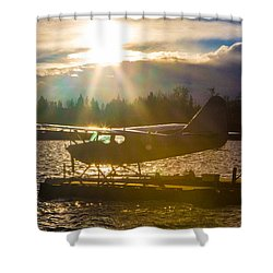 Seaplane Sunset Shower Curtain by Charlie Duncan