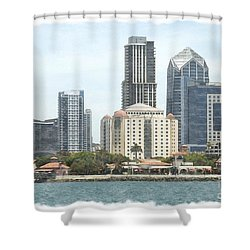 Seaport Village And Downtown San Diego Watercolor Shower Curtain