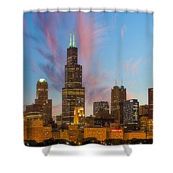 Sears Tower Sunset Shower Curtain by Sebastian Musial