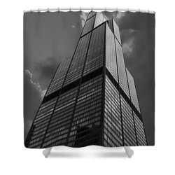 Sears Willis Tower Black And White 01 Shower Curtain by Thomas Woolworth