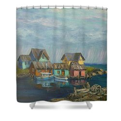 Seascape Boat Paintings Shower Curtain