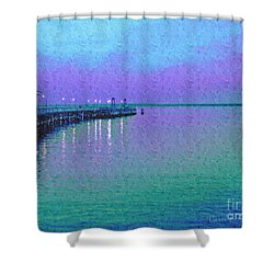 Painterly Seascape Purple Flurry Shower Curtain