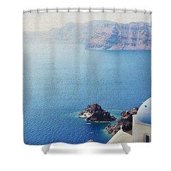 Shower Curtain featuring the photograph Seascape - Santorini by Lisa Parrish