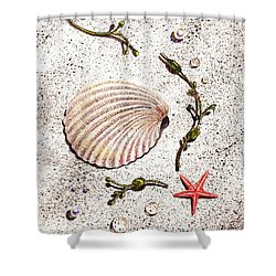 Seashell Sea Star And Pearls On The Beach Shower Curtain by Irina Sztukowski