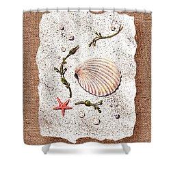 Seashell With Pearls Sea Star And Seaweed  Shower Curtain by Irina Sztukowski