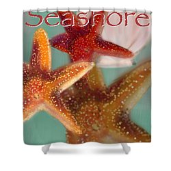 Seashore Poster Shower Curtain by Christine Fournier
