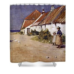 Seaside Cottages With Dovecot Shower Curtain by Edward Arthur Walton