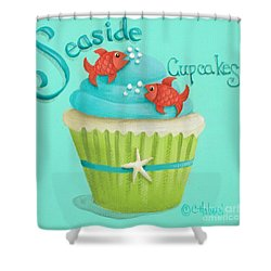 Seaside Cupcakes Shower Curtain by Catherine Holman