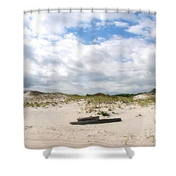 Shower Curtain featuring the photograph Seaside Driftwood And Dunes by Pamela Hyde Wilson