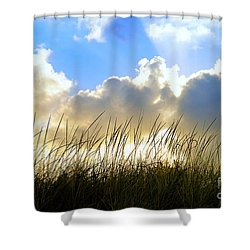 Seaside Grass And Clouds Shower Curtain