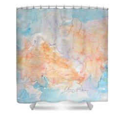 Shower Curtain featuring the painting Seaside In Summer by Esther Newman-Cohen