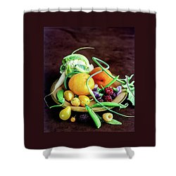 Seasonal Fruit And Vegetables Shower Curtain by Romulo Yanes