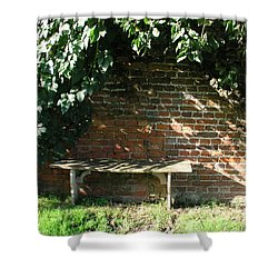 Shower Curtain featuring the photograph Seasoned Bench by Bev Conover