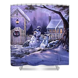 Season's Greeters Shower Curtain by Michael Humphries