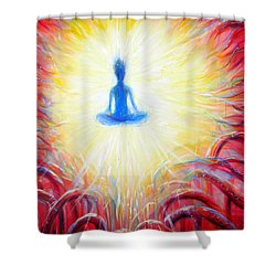 Shower Curtain featuring the painting Seat Of The Soul by Heather Calderon