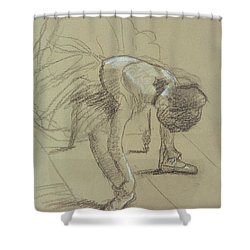 Seated Dancer Adjusting Her Shoes Shower Curtain by Edgar Degas