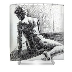 Seated Male Back Shower Curtain