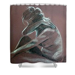 Seated Woman Side Light Shower Curtain