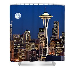Seattle At Full Moon Shower Curtain by Inge Johnsson