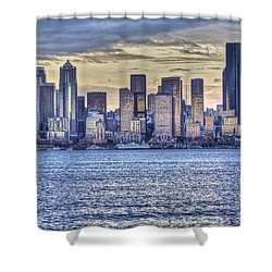 Seattle At Twilight From Alki Beach Shower Curtain
