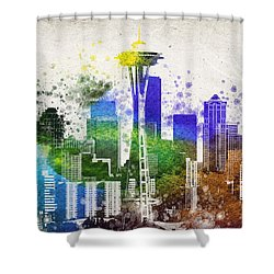 Seattle City Skyline Shower Curtain by Aged Pixel