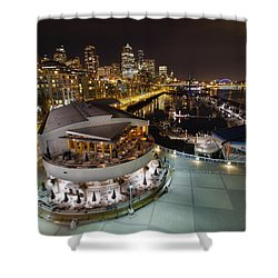 Shower Curtain featuring the photograph Seattle City Skyline And Marina At Night by JPLDesigns