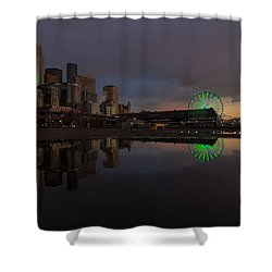 Seattle Cityscape And The Wheel Shower Curtain by Mike Reid