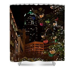 Seattle Downtown Christmas Time Art Prints Shower Curtain by Valerie Garner