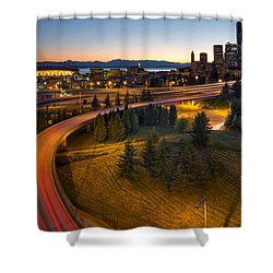 Shower Curtain featuring the photograph Seattle Downtown Highway Traffic Light Trails by JPLDesigns