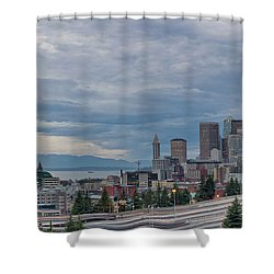 Shower Curtain featuring the photograph Seattle Downtown Skyline And Freeway Panorama by JPLDesigns