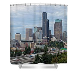 Shower Curtain featuring the photograph Seattle Downtown Skyline On A Cloudy Day by JPLDesigns
