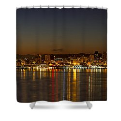 Shower Curtain featuring the photograph Seattle Downtown Skyline Reflection At Dawn by JPLDesigns
