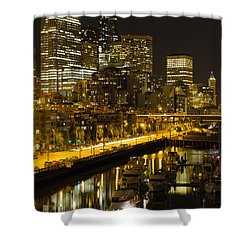 Shower Curtain featuring the photograph Seattle Downtown Waterfront Skyline At Night by JPLDesigns