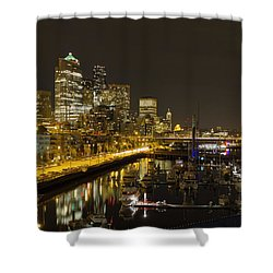 Shower Curtain featuring the photograph Seattle Downtown Waterfront Skyline At Night Reflection by JPLDesigns