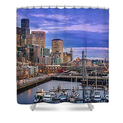 Seattle Great Wheel Shower Curtain by Inge Johnsson